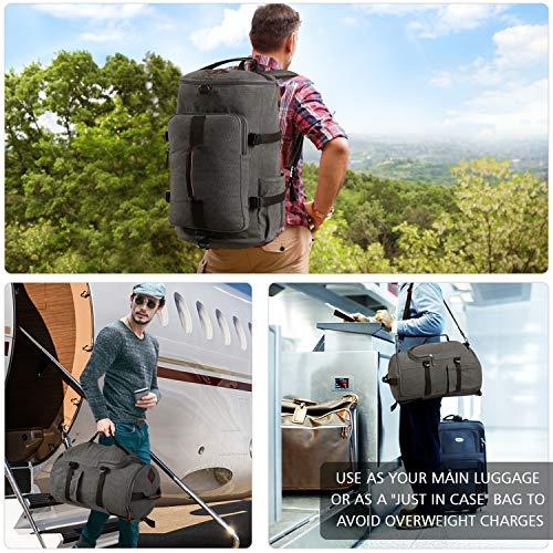 Carry on Backpacks, Yousu Mens Vintage Travel Backpack Rucksack Outdoor Traveling Duffle Backpack Bag Classic Travel Multi Functional Bags 3-In-1 Grey