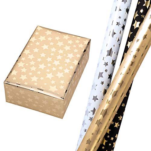 Geschenkpapier Weihnachten Set 3 Rollen (75 x 150 cm), hochglänzend metallische Sterne in Schwarz, Gold und Weiß, sehr edel. Für Geburtstag, Weihnachten, Weihnachtsgeschenkpapier.