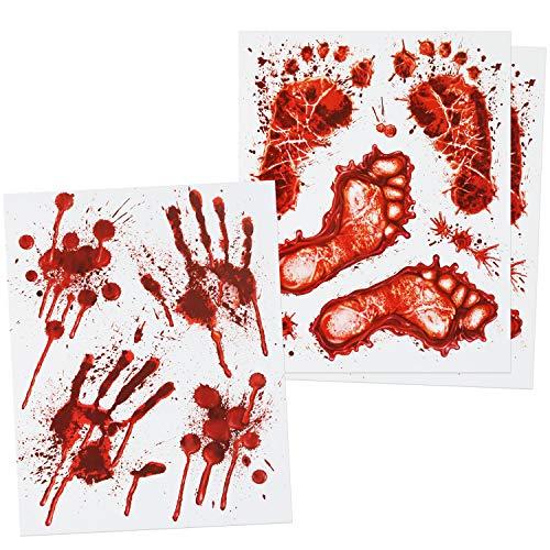 com-four® 18-teiliges Halloween-Set - statisch haftende Fensterbilder, Selbstklebende Fensterdeko mit blutigen Hand- und Fuß-Motiven (18 teilig - Halloween Hand Fuß Fensterbild)