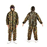 Pinty 3D Bionic Ghillie Suit Leafy Outdoor Camo for Hunting Airsoft Wildlife Photography Bird Watching Breathable Woodland Forest/Jungle Camouflage Jacket & Pants for Men Women Military Hunting Gear