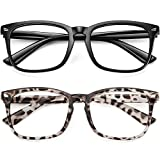 WOWSUN Unisex Stylish Nerd Non-prescription Glasses Clear Lens Eyeglasses Fashion Nerd Glasses Frames Fake Eye Glasses (2 PACK Leopard Black Frame)