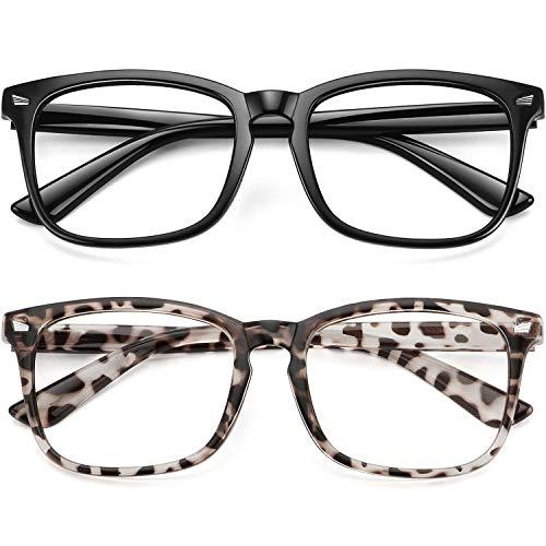 WOWSUN Unisex Stylish Nerd Non-prescription Glasses Clear Lens Eyeglasses Fashion Nerd Glasses Frames Fake Eye Glasses (2 PACK Leopard Black Frame)