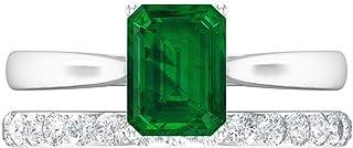Lab Created - Anello con solitario con smeraldo 0,9 ct, 1 mm, diamante HI-SI, anello eternity in oro, set di fedi nuziali ...