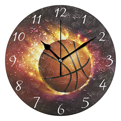 Ahomy Runde Wanduhr mit Basketball auf Feuer Home Art Decor Antiticking Ziffern Uhr für Home Office