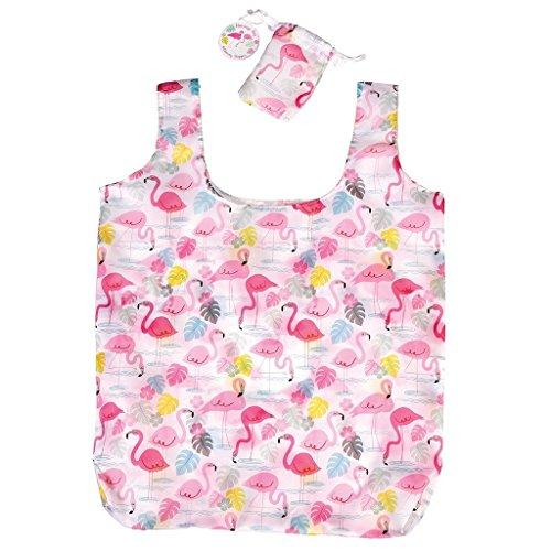 Wiederverwendbare, zusammenfaltbare Einkaufstasche mit Hülle - verschiedene Designs. Flamingo Bay