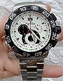 HHBB Marca de lujo hombres acero inoxidable plata negro blanco cronógrafo zafiro impermeable clásico deporte reloj Aaa+ blanco 1