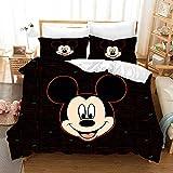 Viuseay Mickey Mouse Duvet Cover Set for Boys Kids Girls Black Microfiber Comforter Cover Caroon Printing Bedding Set Full Size 3PCS(1 Duvet Cover +2 Pillow sham)