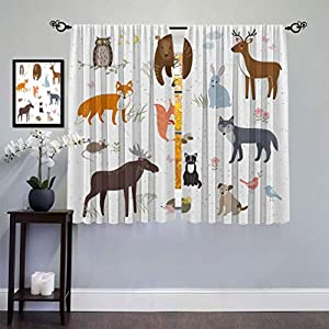 Cabin Decor Thermal Insulated Curtains, Cute Animals in Spring Meadow Childish Woodland Fauna Kids Baby Room Nursery Window Treatment Drape for Bedroom, Each Panel 48″ W x 90″ L Multicolor