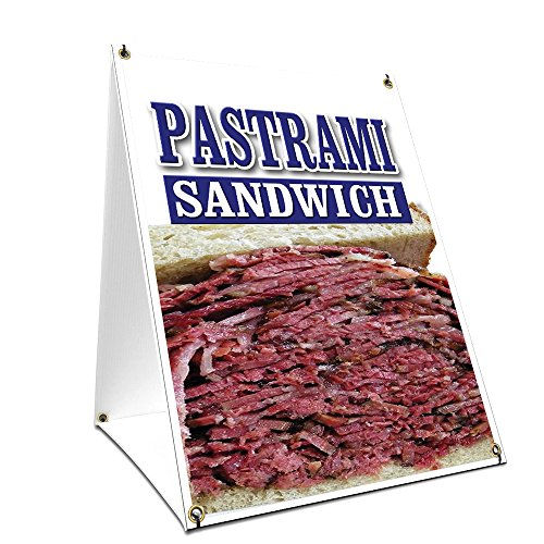 A-Frame Sidewalk Pastrami Sandwich Sign with Graphics On Each Side | 18