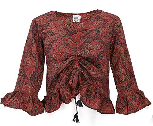 Guru-Shop Blusentop Boho Chic - Blusa de estilo hippie con mangas largas, sintético, blusa y túnica rojo y negro 38