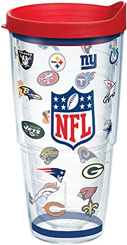 Tervis NFL Team Logos Tumbler with Wrap and Red Lid 24oz, Clear