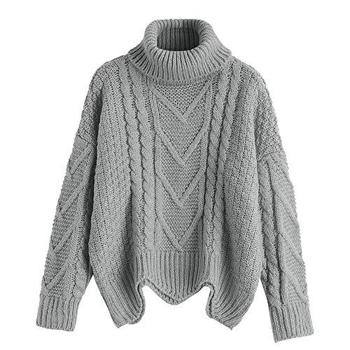 ZAFUL Damen Rollkragen Lässige Einfarbig und Farbe Sweatshirt Langarm Stricken Warmer Pullover (EINHEITSGRÖSSE, Grau)