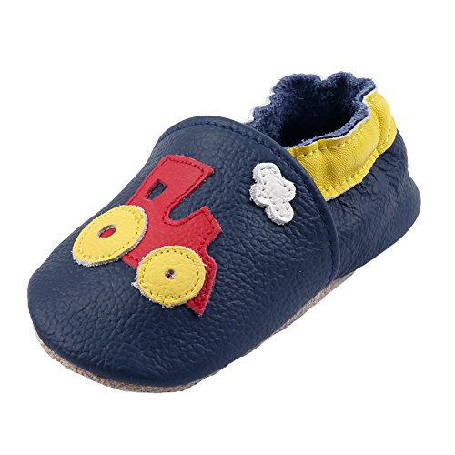 iEvolve Baby Shoes Train Baby Toddler Soft Sole Prewalker Baby First Walking Shoes Crib Shoes Baby Moccasins(Navyblue Train, 6-12 Months)