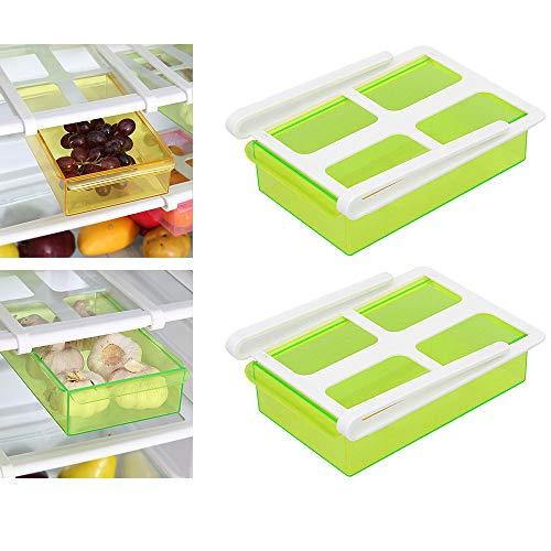 Elinala Kühlschrank Ausziehbar, Kühlschrank Schubladen Organizer, 2 PCS-Kunststoffkühlschränke Ausziehbehälter und Kühlschrankregal-Organizer für Gemüse und Obst (grün)