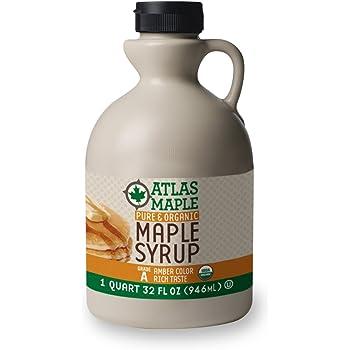 Atlas Maple Organic Maple Syrup, 100% Pure Grade A, Amber Color, Rich Taste, All Natural, Easy Pour Jug, 32 Fl Oz, 1 Qt