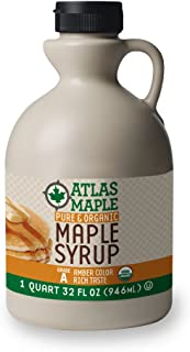 Atlas Maple Organic Maple Syrup, 100% Pure Grade A, Amber Color, Rich Taste, All Natural, Easy Pour Jug, 32 Fl Oz, 1 Qt