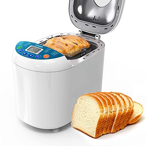 Homgeek Home Bakery Bread Machine 2.2 Pound with 19 Programmable Menus Setting and 15 Hours Preset,3 Crust Colors,White