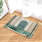 Lumengqi Decoración árabe gótica Hassan Marruecos Gran Mezquita Arte Vintage Alfombrilla Delantera para Puerta de decoración del hogar,Alfombrilla de baño,Antideslizante y fácil de Limpiar,HD40x60cm