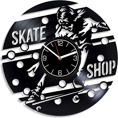 SKYTY 3D Clock Wanduhr Aus Vinyl Schallplattenuhr Upcycling Design Uhr Wand Deko -Skateboard Geschäft Vintage Familien Zimmer Dekoration Kunst 30cm-kein LED-Licht