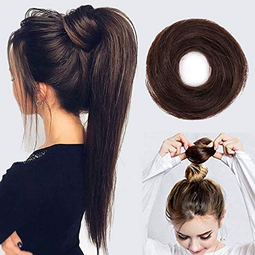 Stamped Glorious100% Human Hair Messy Bun Hairpiece Scrunchy Donut Hair Chignons Hair PieceDark Brown