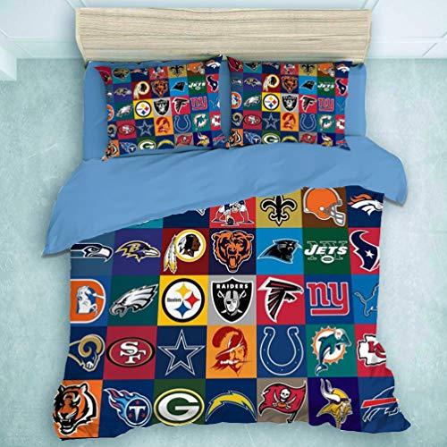 Ritioa NFL Football F - Set di biancheria da letto con copripiumino e federa, 3 pezzi, in microfibra