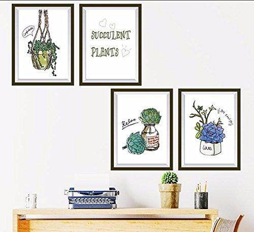HCCY Mooie bloempotten muur papier minimalistische kantoor slaapkamer muur posters thuis zelfklevende Scandinavische mediterrane slaapkamer posters 75 * 70cm papier