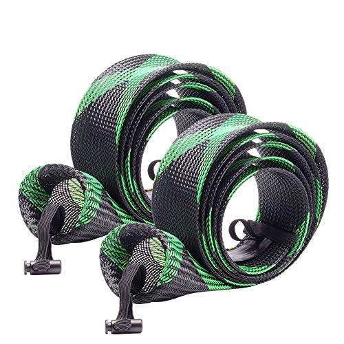 SF Fishing Spinning Rod Socks Braided Mesh Rod Sleeve Cover Protector Pole Gloves(Green/Black/2PCS)