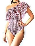 Trajes de baño de 1 Pieza para Mujer Sexy Bañadores sin Espalda Elegante con Volantes Bikinis Traje de baño Monokinis Trajes de baño Vintage