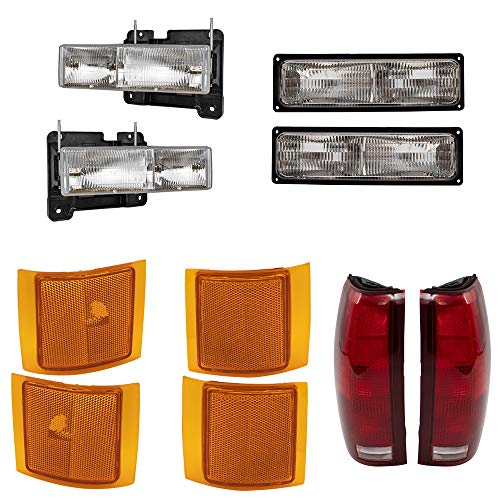 Brock Replacement for 10 Pc Set Composite Headlights, Tail Lights and Side Marker Lights Compatible with 1994-1999 C/K Old Body Style Pickup