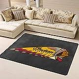 VJSDIUD 3D Indian Motor Cycle Logo Soft Indoor Area Rug Living Room Modern Carpet Large Decorator Floor Mat for Children 63' X 48'
