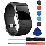 Sunjoyco Replacement Large Strap Silicone Band Compatible with Fitbit Surge Watch Fitness Tracker WatchBand Wrist Band Wristband Accessories Black