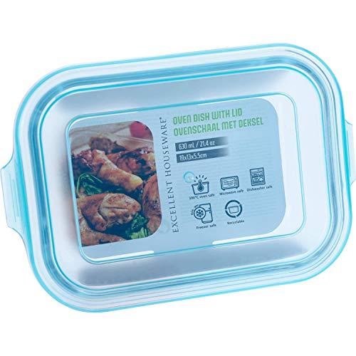 EH Excellent Houseware Contenitore in vetro con coperchio in plastica, 630 ml