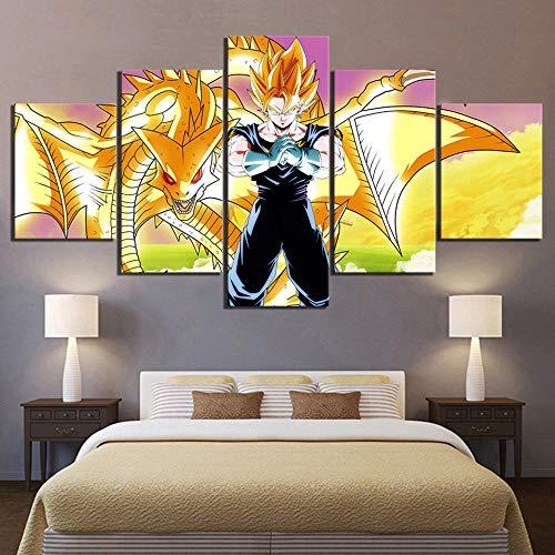 Yoplll Cuadro En Lienzo Abstracto Impresión De 5 Piezas Material Tejido No Tejido Impresión Artística Imagen Gráfica Decoracion De Pared Dragon Ball Goku Animación De Imágenes