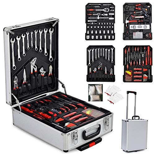 TUFFIOM Tool Box with Tools 799pcs Household Tool Set with Aluminum Trolley Case, Auto Repair Tool Kit Toolbox and Wheels