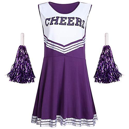 G-Kids Damen Mädchen Cheerleader Cheerleading Kostüm Uniform Karneval Fasching Party Halloween Kostüm Kleid Minirock mit 2 Pompoms Lila S