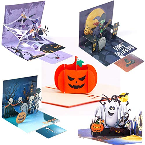 XBKPLO 3D Halloween Pop up Greeting Card Ghost Pumpkin Pattern Handmade Card with Envelope for...