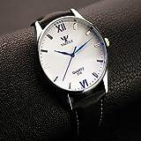 XKC-watches Herrenuhren, Yazole Männer Uhren Mode Runden Römischen Digitaluhren der Männer analoge Quarzarmbanduhr Weisekleiduhr Geschenkidee (Farbe : Black/White)