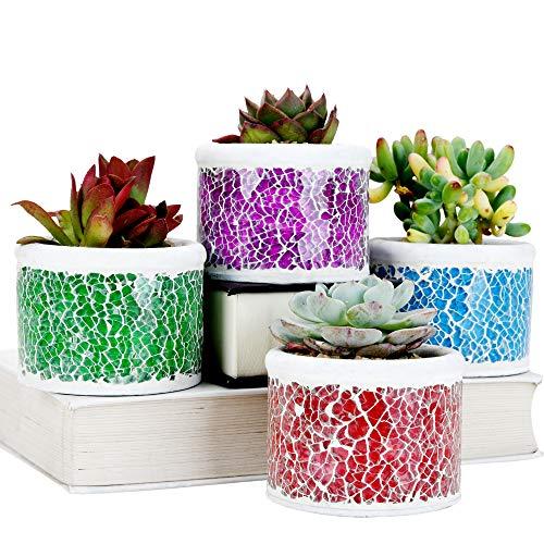 SE SUN-E Fioriera per Cactus succulente in Cemento Vetro Mosaico,Piccole Piante/fioriere fioriere Idea Regalo Perfetta per Giardino,Patio,Festa,casa,Decorazioni per Interni/Esterni