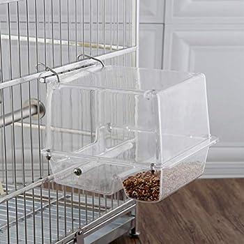 Mangeoire à oiseaux automatique pour Cage Mangeoire à graines pour oiseaux en plastique transparent Station d'alimentation pour contenants de nourriture pour perroquet pour perruche Canary Cockatiel F