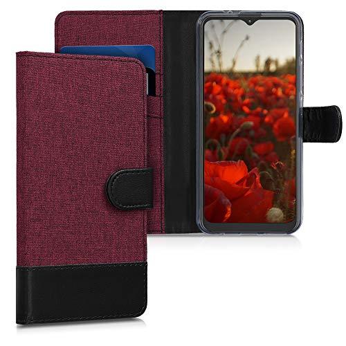 kwmobile Carcasa Compatible con Motorola Moto G9 Play/Moto E7 Plus - Funda de Tela y Cuero sintético Tarjetero Rojo Oscuro/Negro