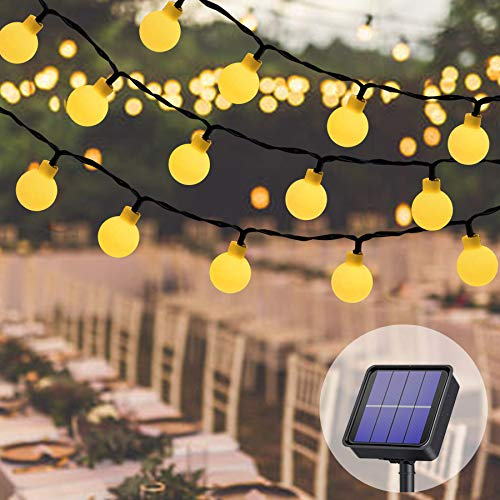 Lezonic Cadena de luces solares para exteriores, 60 ledes, 8 m, 8 modos, impermeable, funciona con energía solar, iluminación de jardín, fiesta, Navidad, decoración (blanco cálido)