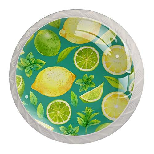 Paquete de 4 pomos de cocina de cristal, mango redondo para cajón, cítricos, amarillo, verde limón
