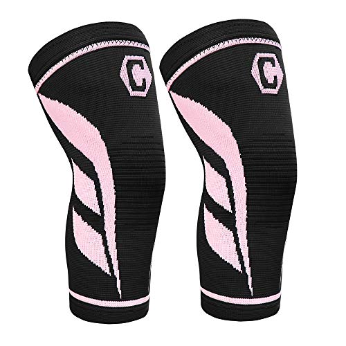 CAMBIVO 2 Pack Knee Compression Sleeve, Knee Brace for Women and Men, Knee Support for Running, Workout, Hiking, Sports (Peach,X-Large)