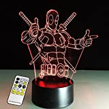 3D Lamp Deadpool Remote Control Best Gift For...