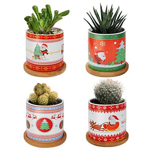 Maxjaa Macetas de cerámica para Flores, Juego de 4 macetas para Plantas suculentas con Bandeja de bambú, Estilo navideño Decorativo para el hogar, la Oficina, la habitación y el jardín