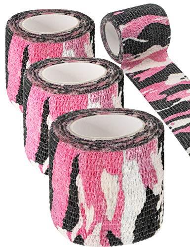 Outdoor Saxx® - 3 cintas de camuflaje, cinta de tela, resistente al agua, multiusos, cámara, equipo, cazador, pescador, fotografía, camuflaje rosa, 4,5 m, paquete de 3 unidades.