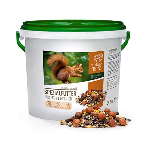 Wild Animal Heart Squirrel Food 2 kg for Squirrel and Chipmunk - Natural Product Mix Premium Quality Meal Appropriate & Feeding All Year Round