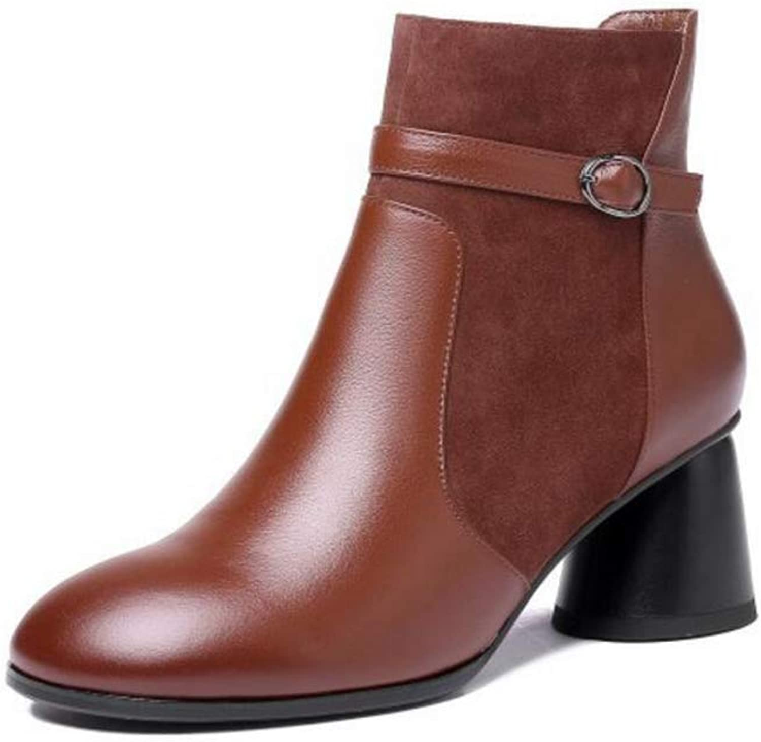 Women's shoes, Woman Autumn Winte Leather Booties, Female Booties Fashion Boots Retro Ankle Boots (color   Brown, Size   41)