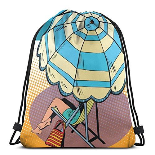 BXBX Plegable Bags Girl Under A Beach Umbrella Vacation At Sea Draw String Gym Bag Nap Sac DAP Bag Pumps Bag DAP Sac PE Bag Boot Bag