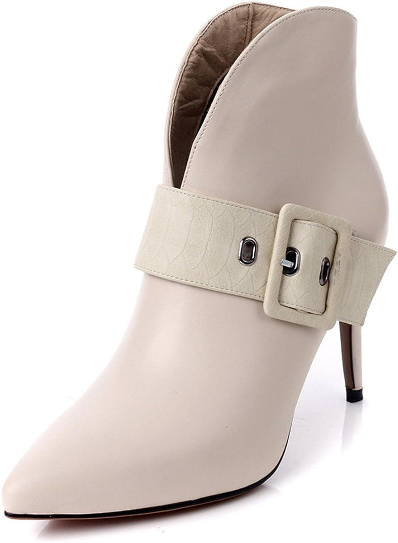 Nine Seven Genuine Leather Women's Pointy Toe Stiletto Sexy Heel Elegant Handmade Ankle High Booties